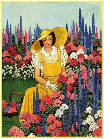"""Cutting Flowers from Her Garden,""August 1, 1933"