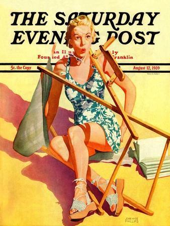 """Broken Beach Chair,"" Saturday Evening Post Cover, August 12, 1939"