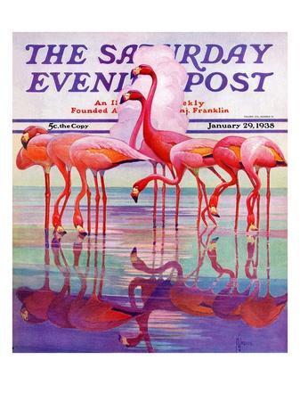 """Pink Flamingos,"" Saturday Evening Post Cover, January 29, 1938"