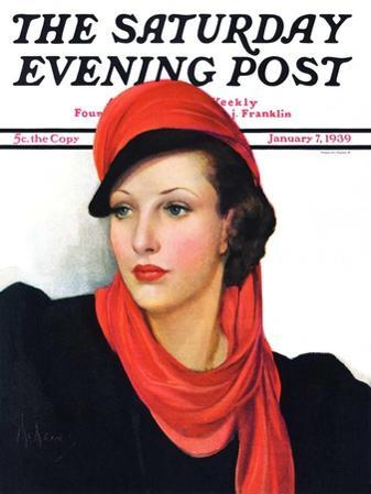 """""""Portrait in Black and Red,"""" Saturday Evening Post Cover, January 7, 1939"""