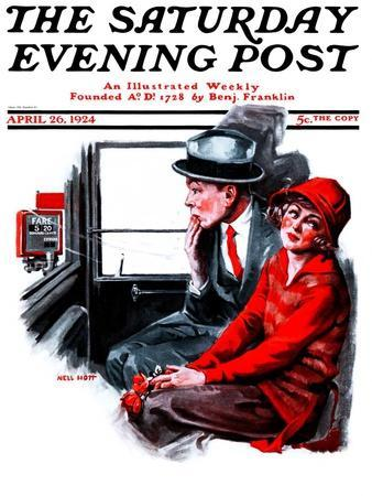 """""""Taxi Cab,"""" Saturday Evening Post Cover, April 26, 1924"""