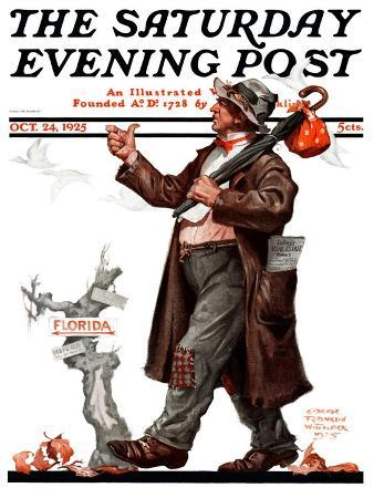 """Hitchhiking to Florida,"" Saturday Evening Post Cover, October 24, 1925"