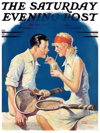 """Tennis Couple,"" Saturday Evening Post Cover, June 21, 1930"