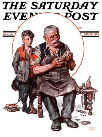 """""""Cobbler and Holey Shoe,"""" Saturday Evening Post Cover, January 30, 1926"""