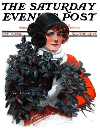 """Holly Bouquet,"" Saturday Evening Post Cover, December 13, 1924"