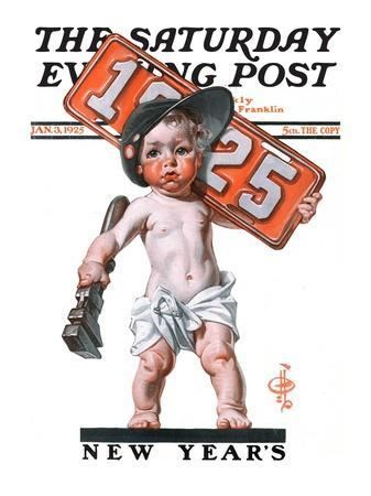 """Industrial New Years Baby with License Plate,"" Saturday Evening Post Cover, January 3, 1925"
