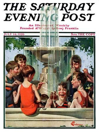 """Swimming in Fountain,"" Saturday Evening Post Cover, July 24, 1926"