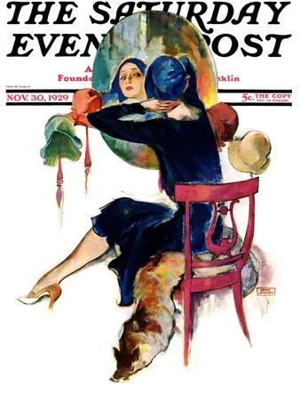 """Hat Shop,"" Saturday Evening Post Cover, November 30, 1929"