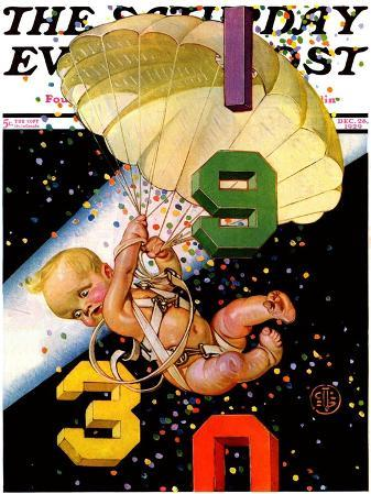 """Parachuting Baby New Year,"" Saturday Evening Post Cover, December 28, 1929"