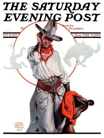 """""""Bronco Toss,"""" Saturday Evening Post Cover, October 10, 1925"""