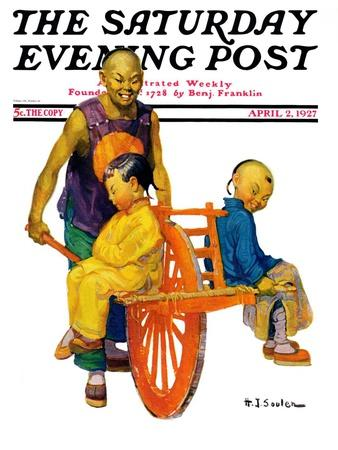"""""""Chinese Family,"""" Saturday Evening Post Cover, April 2, 1927"""