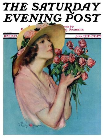 """Pink Rose Bouquet,"" Saturday Evening Post Cover, June 18, 1927"
