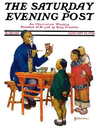 """""""Chinese Painting China,"""" Saturday Evening Post Cover, January 14, 1928"""