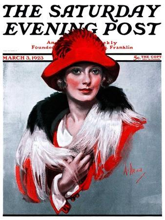 """""""Woman in Red Hat,"""" Saturday Evening Post Cover, March 3, 1923"""