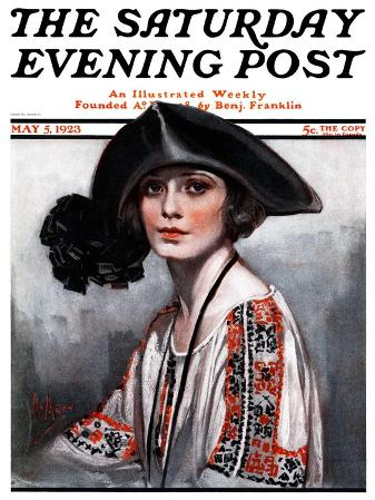"""""""Woman in Embroidered Blouse,"""" Saturday Evening Post Cover, May 5, 1923"""