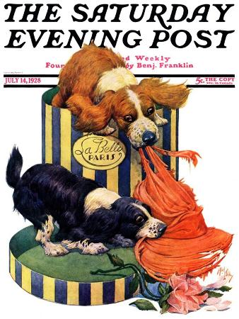 """Dogs Eating Hat,"" Saturday Evening Post Cover, July 14, 1928"