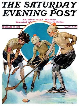 """""""Girls Playing Ice Hockey,"""" Saturday Evening Post Cover, February 23, 1929"""