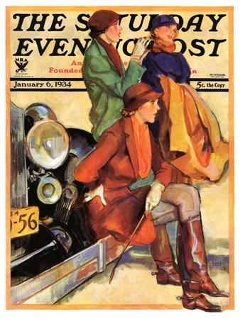 """Women in Riding Habits,"" Saturday Evening Post Cover, January 6, 1934"