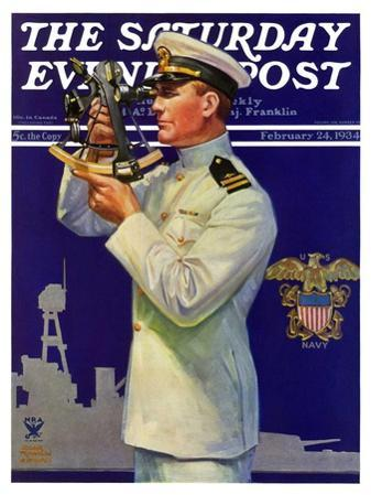 """""""Naval Officer,"""" Saturday Evening Post Cover, February 24, 1934"""