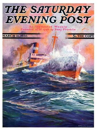 """Wave Breaks over Steamer,"" Saturday Evening Post Cover, March 21, 1936"