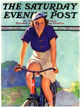 """Woman on a Bike,"" Saturday Evening Post Cover, April 28, 1934"