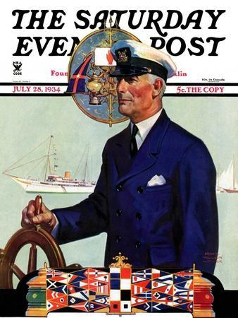 """""""Ship's Captain,"""" Saturday Evening Post Cover, July 28, 1934"""