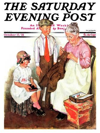 """Mending His Jacket,"" Saturday Evening Post Cover, October 17, 1931"