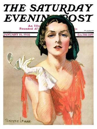 """""""Woman and Pince Nez,"""" Saturday Evening Post Cover, January 16, 1932"""