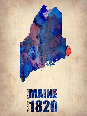 Maine Watercolor Map