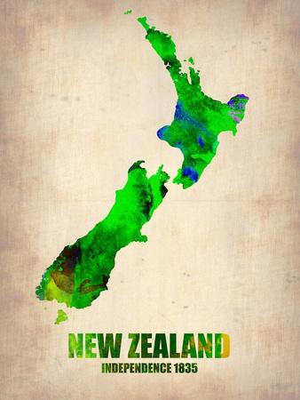 New Zealand Watercolor Map