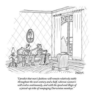 """""""I predict that men's fashions will remain relatively stable throughout th…"""" - New Yorker Cartoon"""
