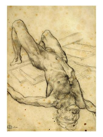 Man Falling Backwards, Charcoal, Study for the Raft of the Medusa, 1819