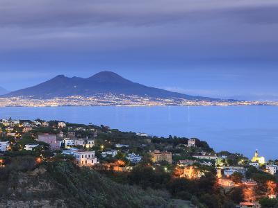 Italy, Naples, View of Naples, Posillipo Town and Mt. Vesuvius