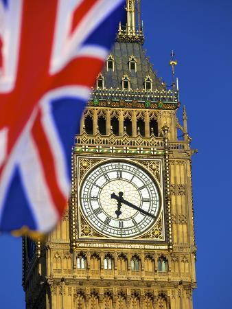 Union Jack Flag and Big Ben, Houses of Parliament, London, England