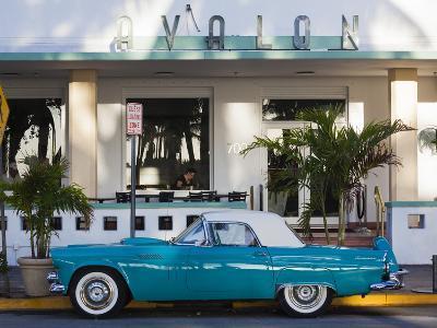 USA, Miami Beach, South Beach, Ocean Drive, Avalon Hotel and 1957 Thunderbird Car