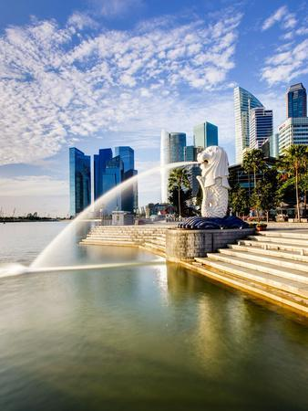 The Merlion Statue with the City Skyline in the Background, Marina Bay, Singapore