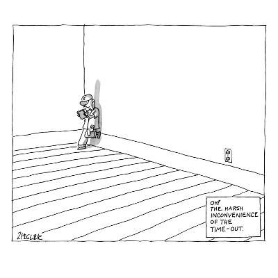 A child plays on a tablet in the corner of the room with the following cap… - New Yorker Cartoon