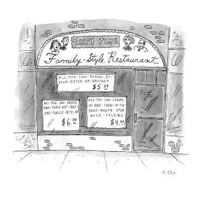 A restaurant with various signs - New Yorker Cartoon