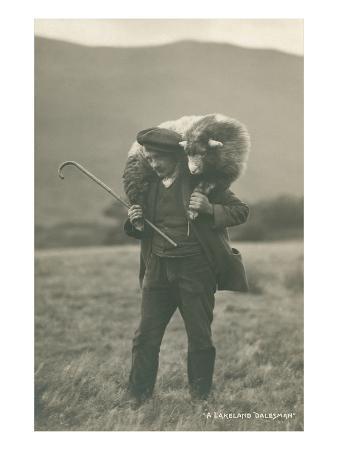 Shepherd Carrying Sheep
