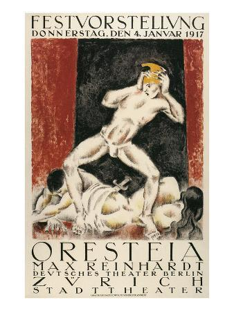 Poster for Orestes Production, Zurich