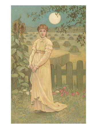Woman Standing by Harvested Field