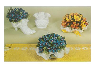 Ceramic Flower Arrangements in Milk Glass