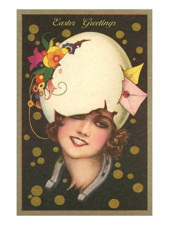 Easter Greetings, Art Deco Woman with Eggshell Hat