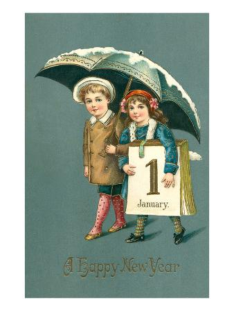 Happy New Year, Children with Calendar Page