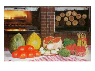 Meat, Fruits, Vegetables in Kitchen