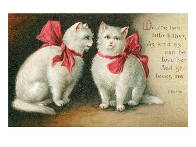 Vintage White Cats with Bows