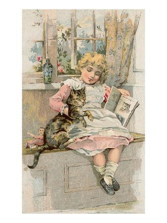 Old Fashioned Girl with Cat