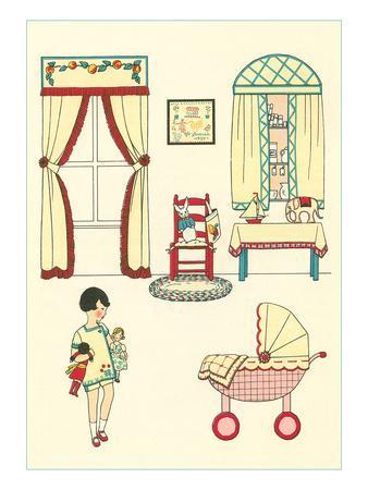 Little Girl, Pram, Neat House