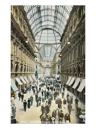 Vintage View of Milan Galleria, Italy