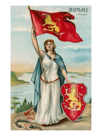 Woman with Flag and Seal of Finland